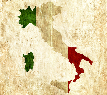 graphical chart: Vintage paper map of Italy