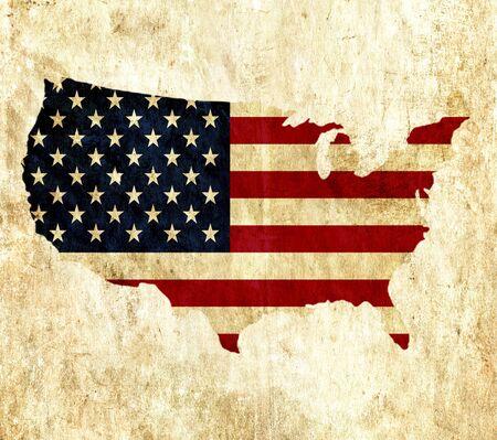 bandera estados unidos: mapa de papel de la vendimia de los Estados Unidos de América