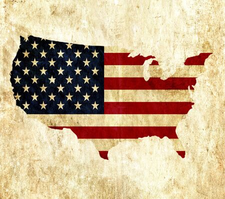usa flags: Vintage paper map of United States of America Stock Photo