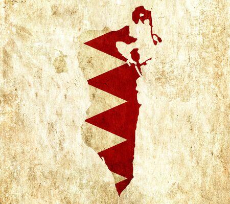 bahrain: Vintage paper map of Bahrain