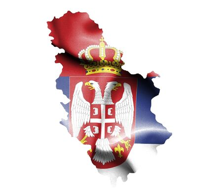 serbian: Map of Serbia with waving flag isolated on white Stock Photo