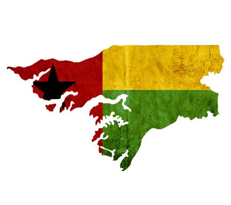 guinea bissau: Vintage paper map of Guinea Bissau