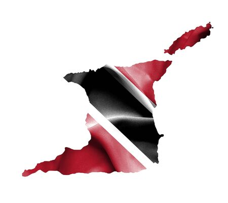 tobago: Map of Trinidad and Tobago with waving flag isolated on white Stock Photo