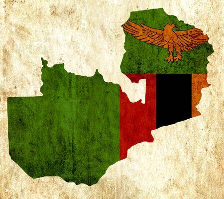 zambia: Vintage paper map of Zambia
