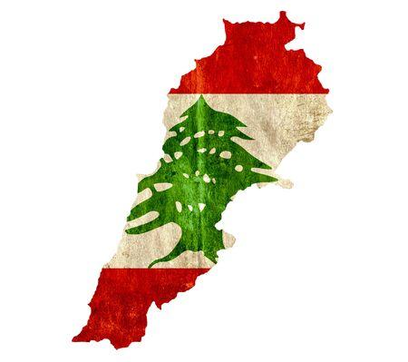lebanon: Vintage paper map of Lebanon