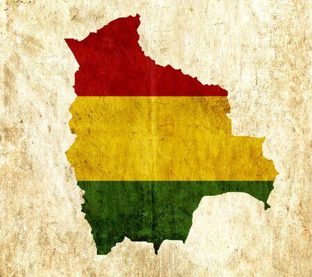 mapa de bolivia: mapa de papel de la vendimia de Bolivia