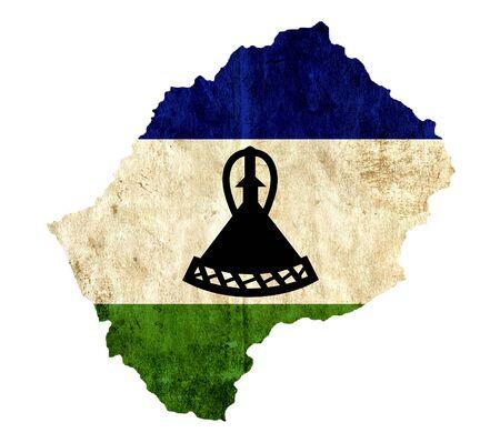lesotho: Vintage paper map of Lesotho