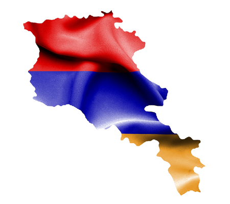 map of armenia: Map of Armenia with waving flag isolated on white Stock Photo