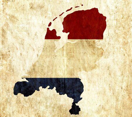 netherlands map: Vintage paper map of Netherlands