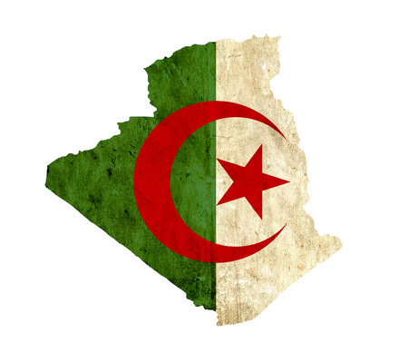 old flag: Vintage paper map of Algeria