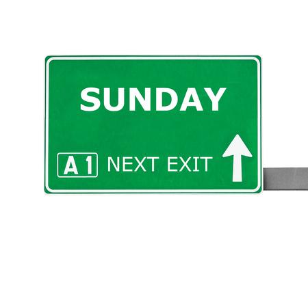 sunday: SUNDAY road sign isolated on white