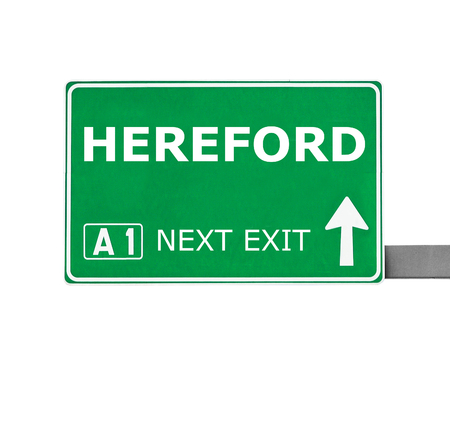hereford: HEREFORD road sign isolated on white Stock Photo