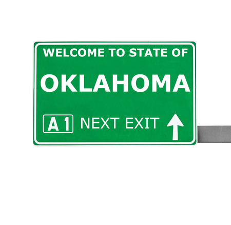 oklahoma: OKLAHOMA road sign isolated on white Stock Photo