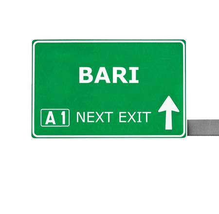 bari: BARI road sign isolated on white