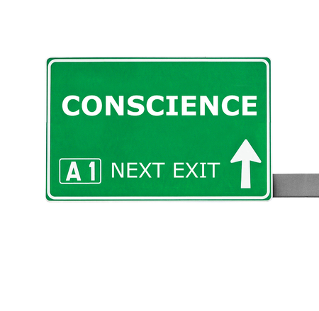 conscience: CONSCIENCE road sign isolated on white Stock Photo