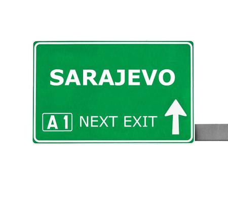 sarajevo: SARAJEVO road sign isolated on white Stock Photo