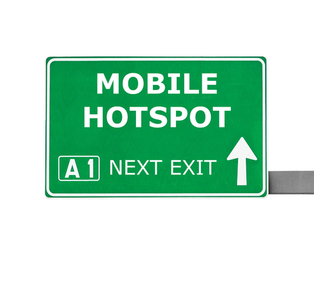 wireless hot spot: MOBILE HOTSPOT road sign isolated on white Stock Photo