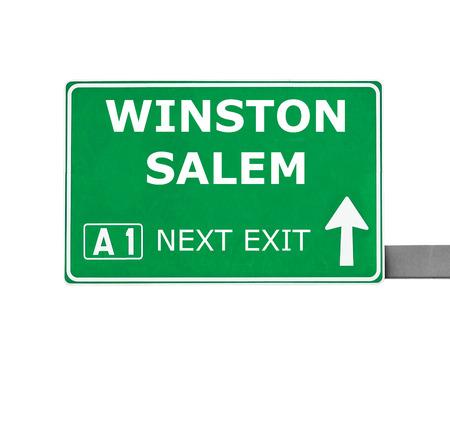 winston: WINSTON SALEM road sign isolated on white