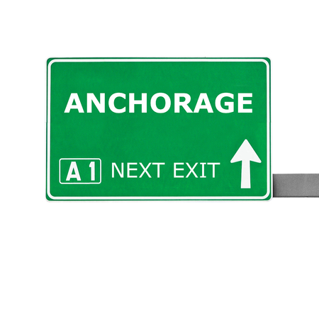 anchorage: ANCHORAGE road sign isolated on white Stock Photo