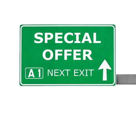 noteworthy: SPECIAL OFFER  road sign isolated on white Stock Photo