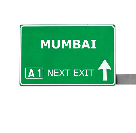 street signs: MUMBAI road sign isolated on white Stock Photo