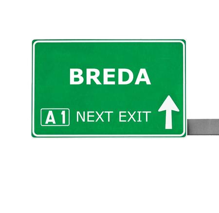 breda: BREDA road sign isolated on white