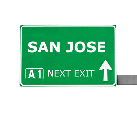 san jose: SAN JOSE road sign isolated on white Stock Photo