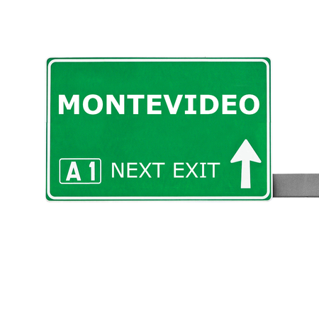 montevideo: MONTEVIDEO road sign isolated on white Stock Photo