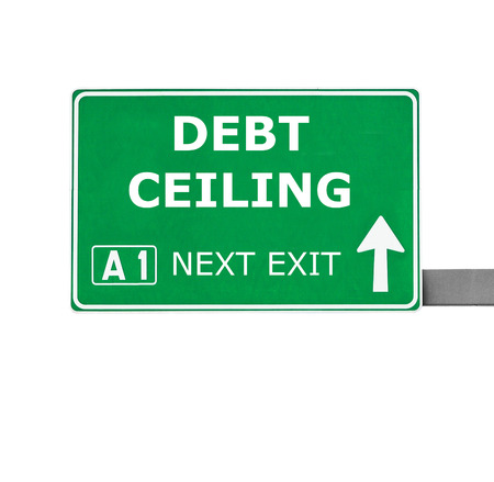 ceiling: DEBT CEILING road sign isolated on white
