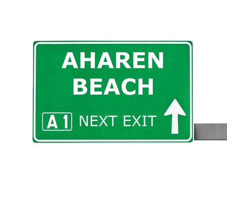 chill out: AHAREN BEACH road sign isolated on white Stock Photo
