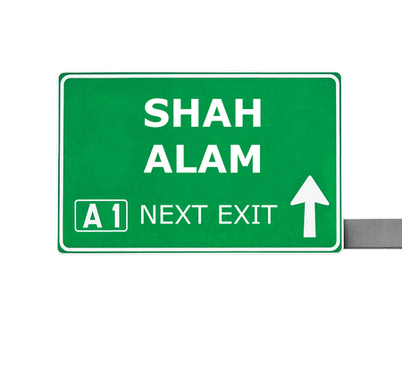 shah: SHAH ALAM road sign isolated on white Stock Photo