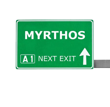 chill out: MYRTHOS road sign isolated on white