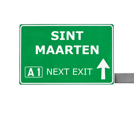 sint: SINT MAARTEN road sign isolated on white