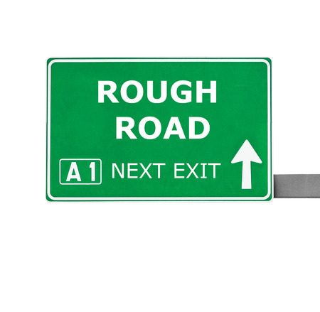 rough road: ROUGH ROAD road sign isolated on white Stock Photo