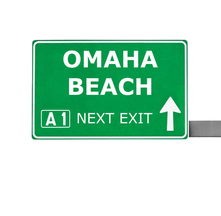 chill out: OMAHA BEACH road sign isolated on white