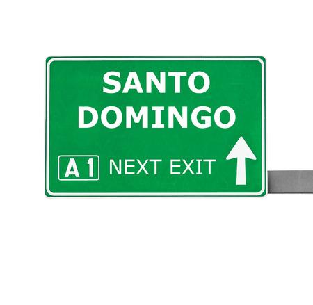 domingo: SANTO DOMINGO road sign isolated on white