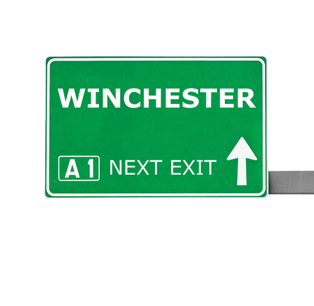 winchester: WINCHESTER road sign isolated on white Stock Photo