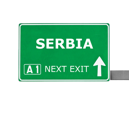 serbia: SERBIA road sign isolated on white Stock Photo