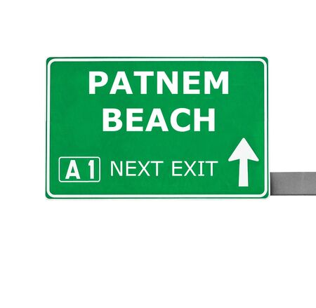 chill out: PATNEM BEACH road sign isolated on white