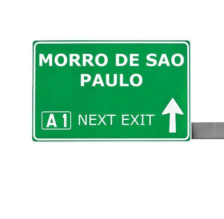 chill out: MORRO DE SAO PAULO road sign isolated on white