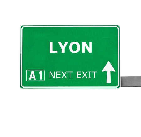 lyon: LYON road sign isolated on white