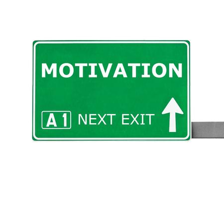 instigation: MOTIVATION road sign isolated on white Stock Photo