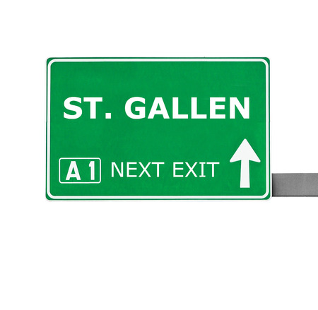 st gallen: ST. GALLEN road sign isolated on white