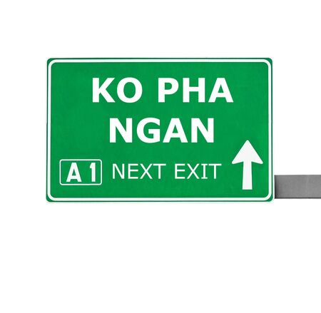 ko: KO PHA NGAN road sign isolated on white
