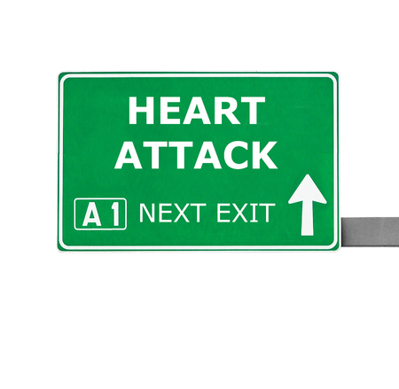 tachycardia: HEART ATTACK road sign isolated on white