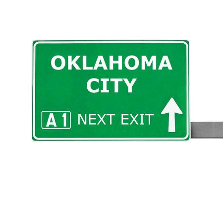 oklahoma city: OKLAHOMA CITY road sign isolated on white