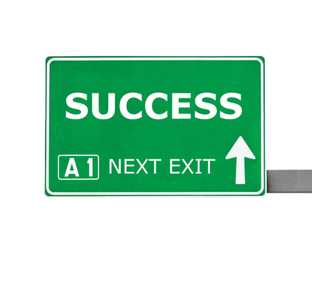 accolade: SUCCESS road sign isolated on white Stock Photo
