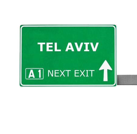 tel: TEL AVIV road sign isolated on white