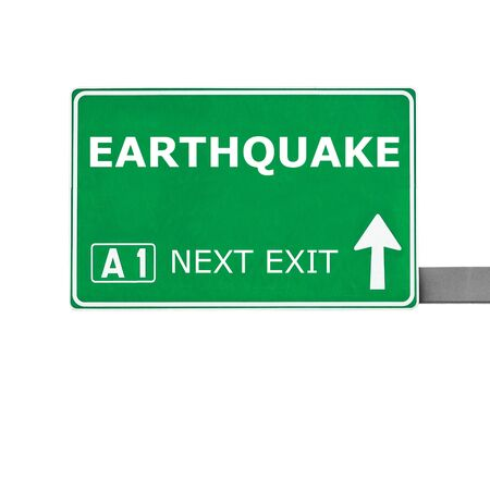 convulsion: EARTHQUAKE  road sign isolated on white