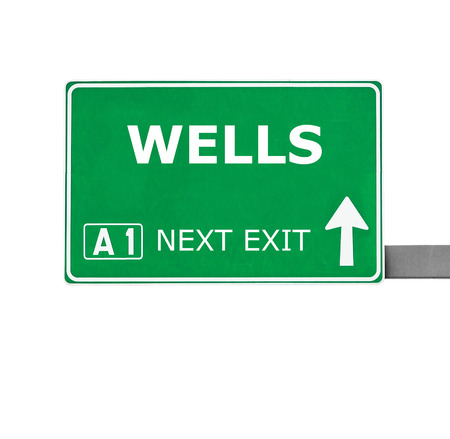 wells: WELLS road sign isolated on white